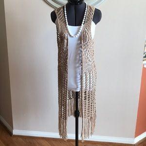 Umgee Crotchet Beige Long Vest